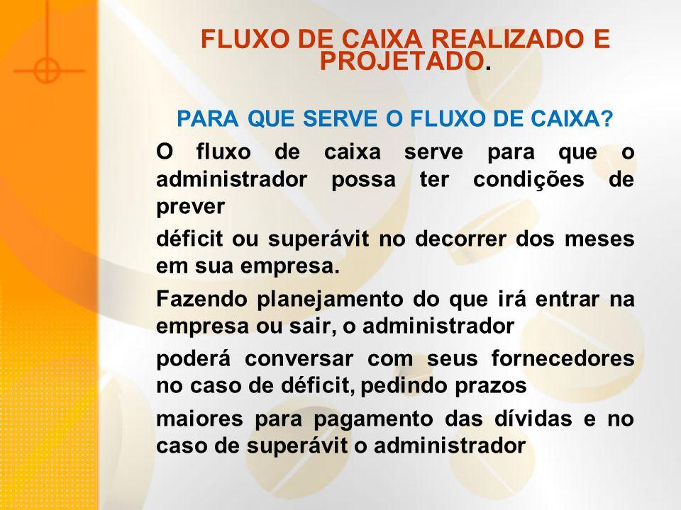 FLUXO DE CAIXA REALIZADO E PROJETADO.PARA QUE SERVE O FLUXO DE CAIXA.