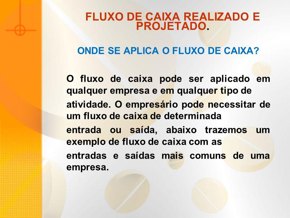 FLUXO DE CAIXA REALIZADO E PROJETADO.ONDE SE APLICA O FLUXO DE CAIXA.