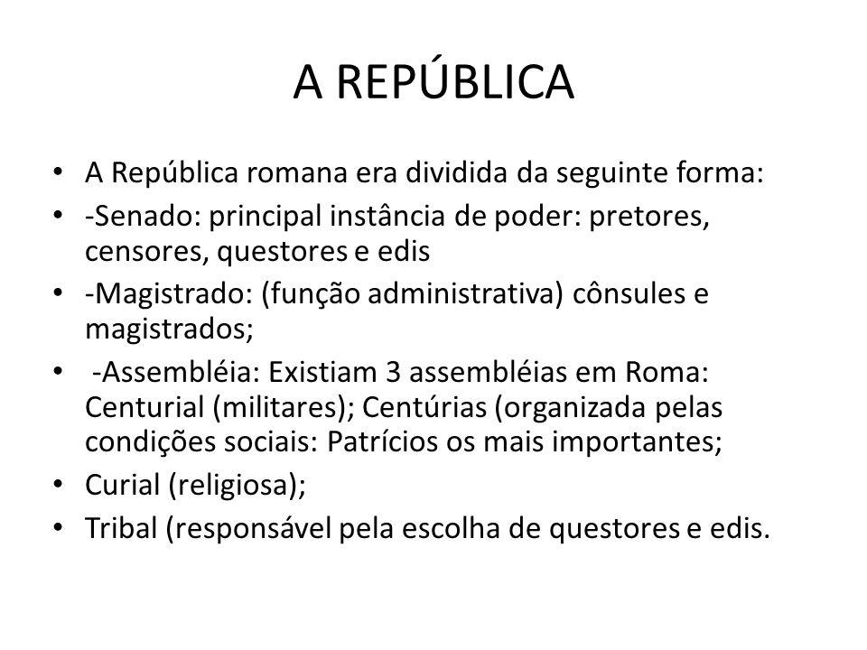 A REPÚBLICA A República romana era dividida da seguinte forma: -Senado: principal instância de poder: pretores, censores, questores e edis -Magistrado