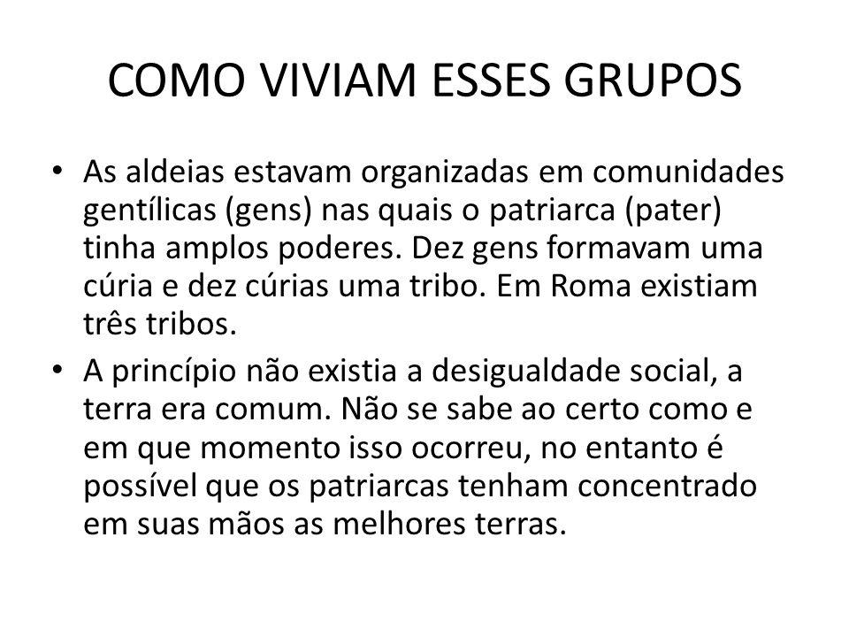 COMO VIVIAM ESSES GRUPOS As aldeias estavam organizadas em comunidades gentílicas (gens) nas quais o patriarca (pater) tinha amplos poderes. Dez gens