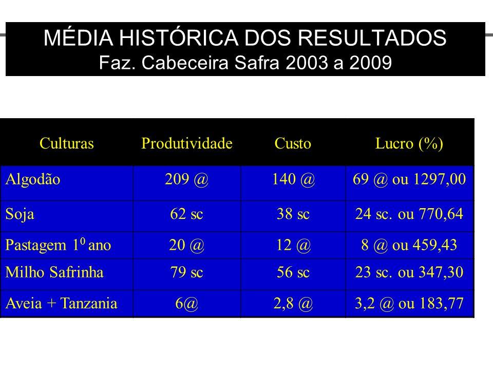 MÉDIA HISTÓRICA DOS RESULTADOS Faz. Cabeceira Safra 2003 a 2009 CulturasProdutividadeCustoLucro (%) Algodão209 @140 @69 @ ou 1297,00 Soja62 sc38 sc24
