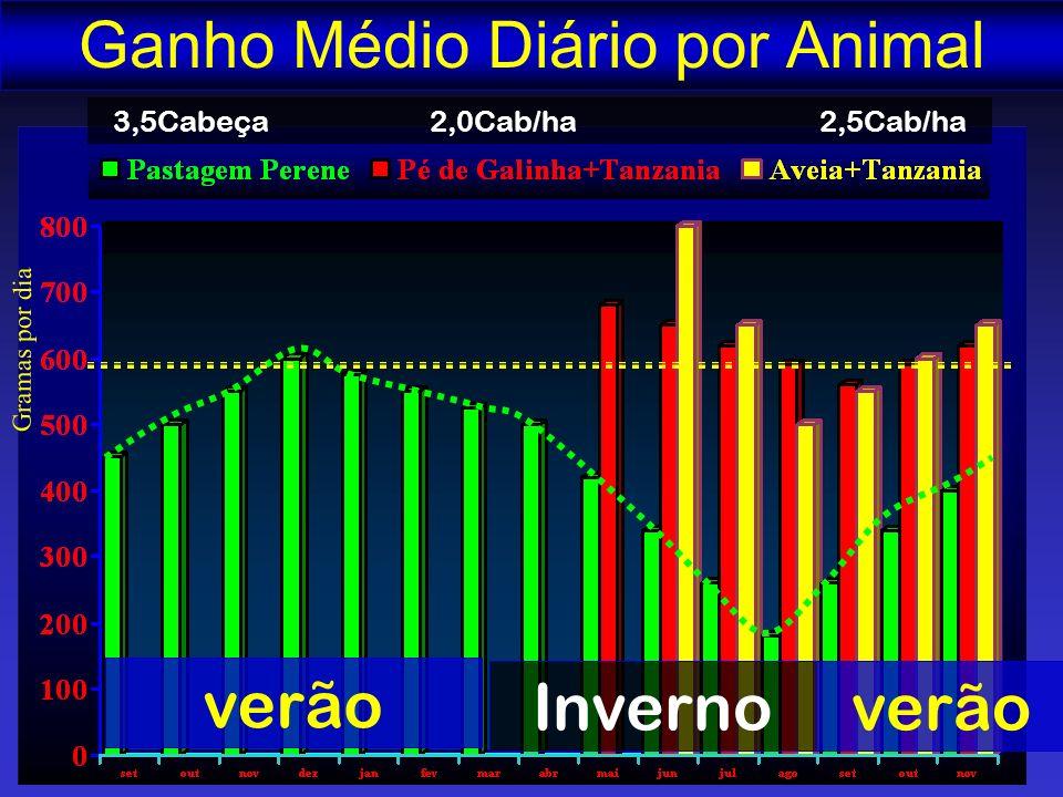 Gramas por dia Ganho Médio Diário por Animal verão Invernoverão 3,5Cabeça 2,0Cab/ha 2,5Cab/ha