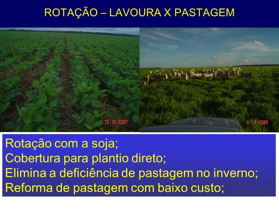 ROTAÇÃO – LAVOURA X PASTAGEM Rotação com a soja; Cobertura para plantio direto; Elimina a deficiência de pastagem no inverno; Reforma de pastagem com