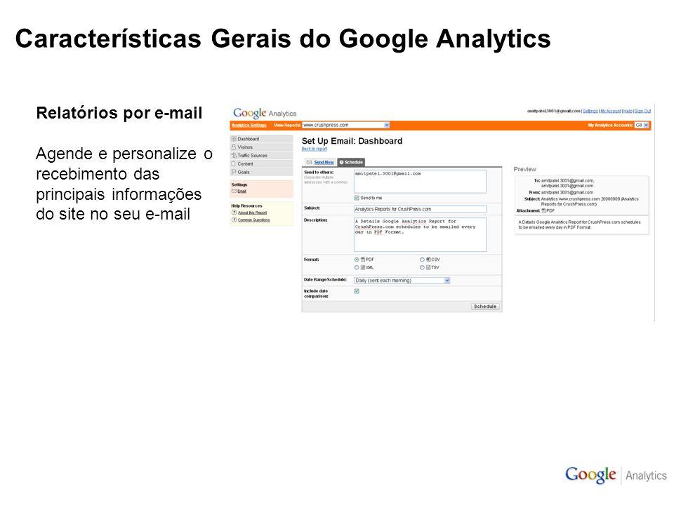 Características Gerais do Google Analytics Relatórios por e-mail Agende e personalize o recebimento das principais informações do site no seu e-mail