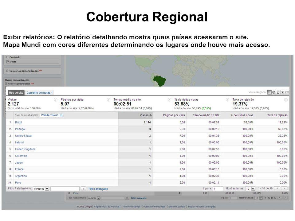 Cobertura Regional Exibir relatórios: O relatório detalhando mostra quais países acessaram o site.
