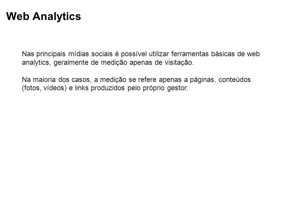 Web Analytics Nas principais mídias sociais é possível utilizar ferramentas básicas de web analytics, geralmente de medição apenas de visitação.