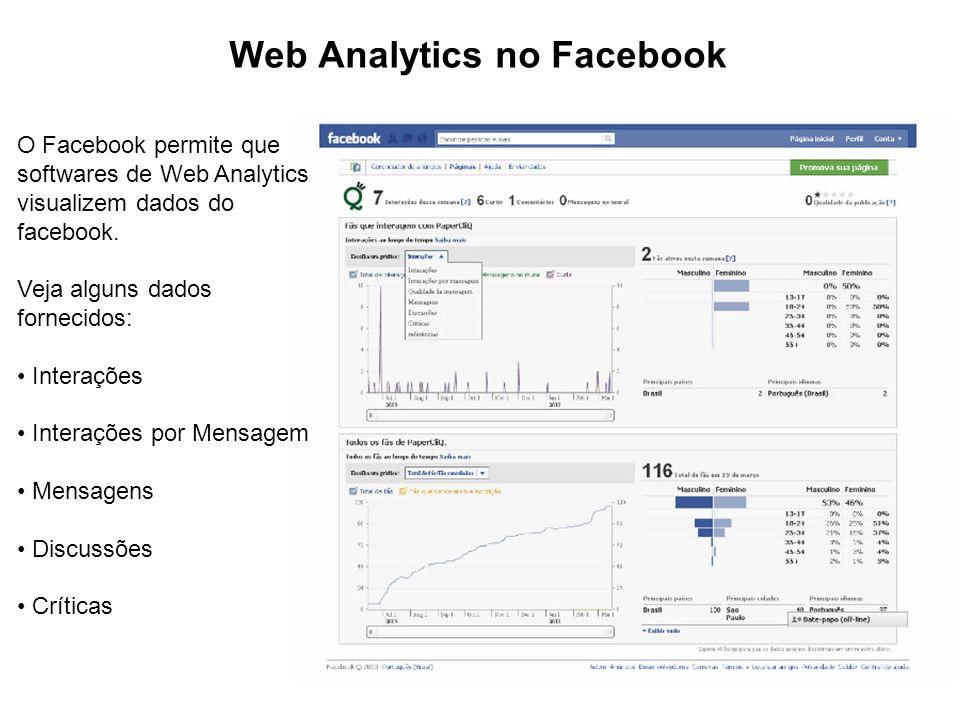 Web Analytics no Facebook O Facebook permite que softwares de Web Analytics visualizem dados do facebook.