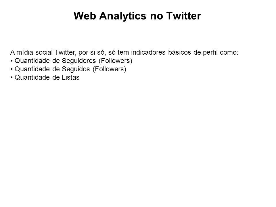 Web Analytics no Twitter A mídia social Twitter, por si só, só tem indicadores básicos de perfil como: Quantidade de Seguidores (Followers) Quantidade de Seguidos (Followers) Quantidade de Listas