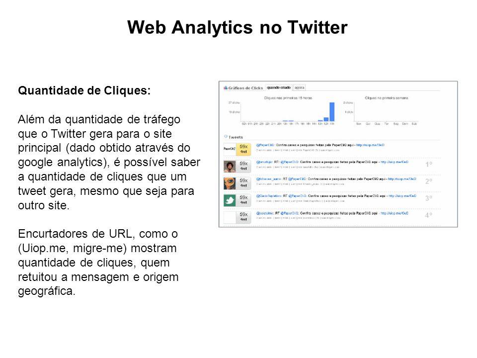 Web Analytics no Twitter Quantidade de Cliques: Além da quantidade de tráfego que o Twitter gera para o site principal (dado obtido através do google analytics), é possível saber a quantidade de cliques que um tweet gera, mesmo que seja para outro site.