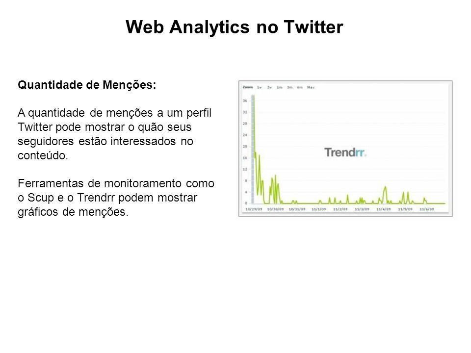Web Analytics no Twitter Quantidade de Menções: A quantidade de menções a um perfil Twitter pode mostrar o quão seus seguidores estão interessados no conteúdo.