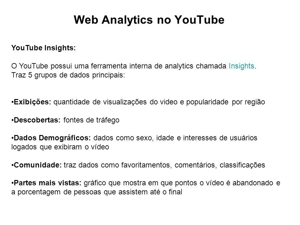 Web Analytics no YouTube YouTube Insights: O YouTube possui uma ferramenta interna de analytics chamada Insights.