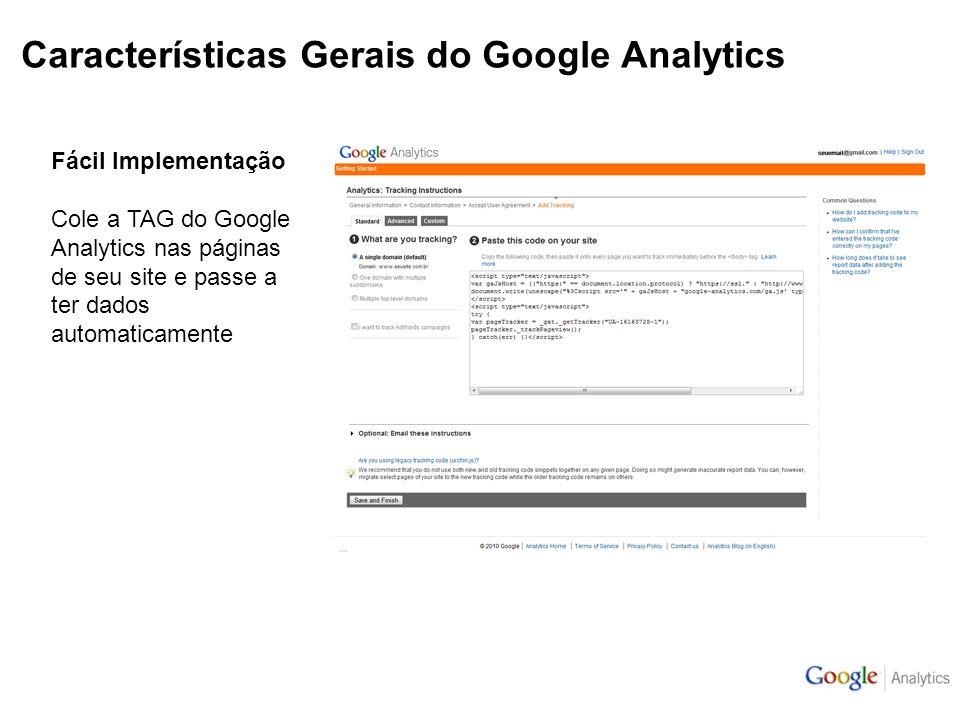Características Gerais do Google Analytics Fácil Implementação Cole a TAG do Google Analytics nas páginas de seu site e passe a ter dados automaticamente