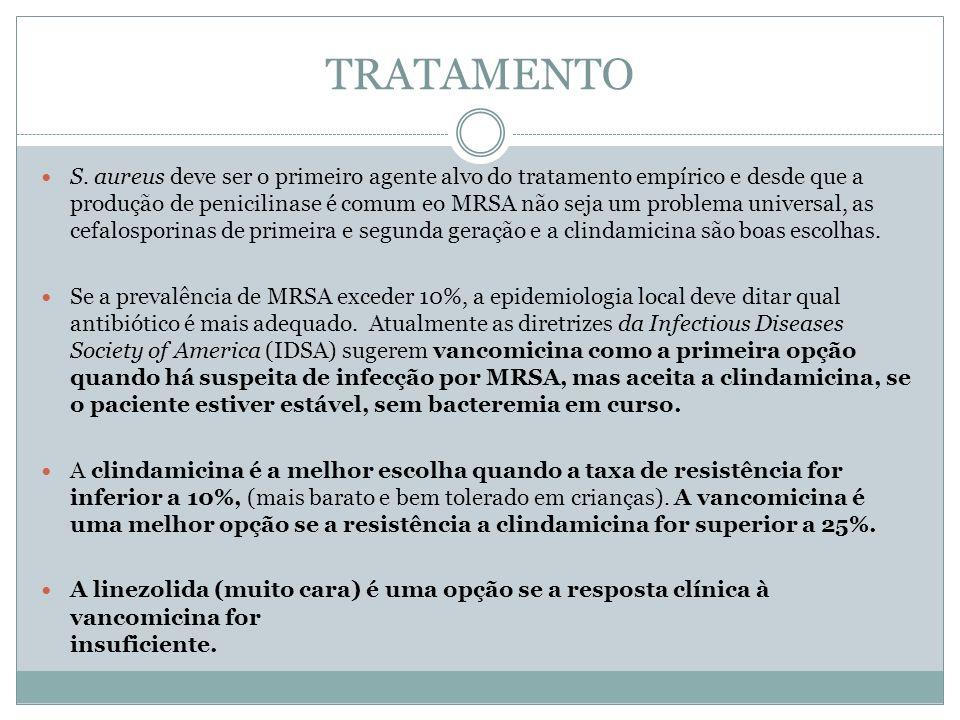 TRATAMENTO S. aureus deve ser o primeiro agente alvo do tratamento empírico e desde que a produção de penicilinase é comum eo MRSA não seja um problem
