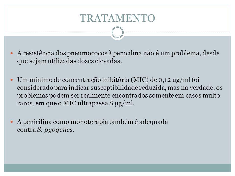 TRATAMENTO A resistência dos pneumococos à penicilina não é um problema, desde que sejam utilizadas doses elevadas. Um mínimo de concentração inibitór