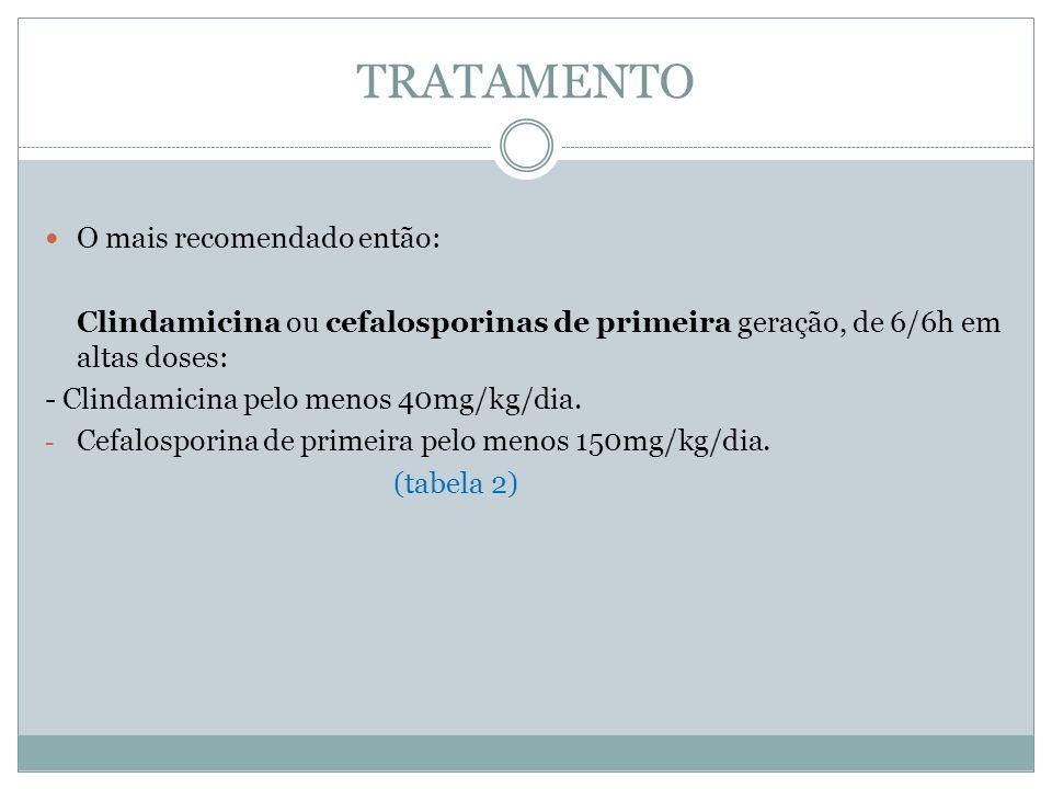 TRATAMENTO O mais recomendado então: Clindamicina ou cefalosporinas de primeira geração, de 6/6h em altas doses: - Clindamicina pelo menos 40mg/kg/dia