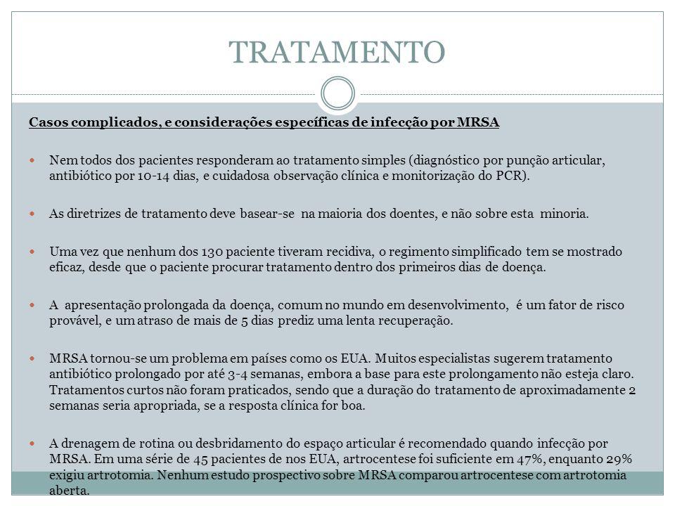 TRATAMENTO Casos complicados, e considerações específicas de infecção por MRSA Nem todos dos pacientes responderam ao tratamento simples (diagnóstico