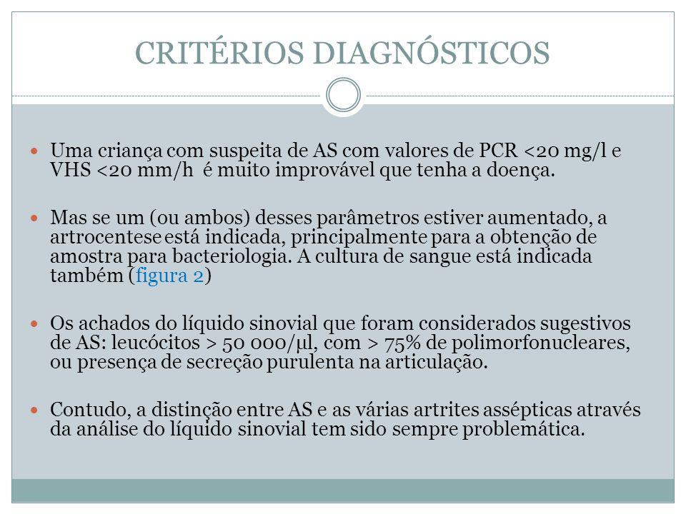 CRITÉRIOS DIAGNÓSTICOS Uma criança com suspeita de AS com valores de PCR <20 mg/l e VHS <20 mm/h é muito improvável que tenha a doença. Mas se um (ou