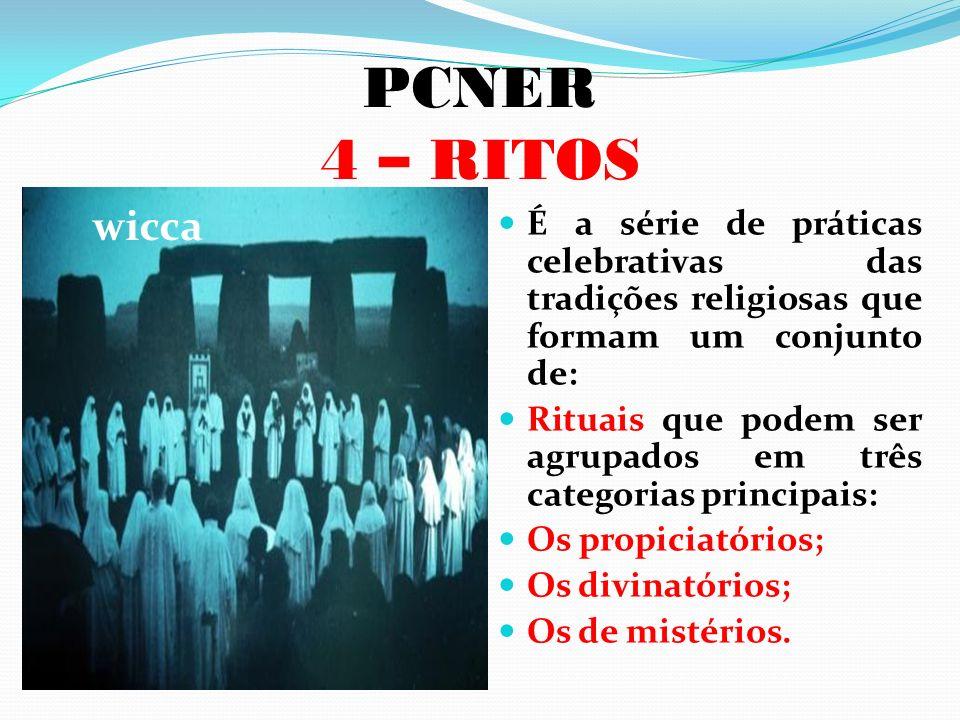 PCNER 4 – RITOS É a série de práticas celebrativas das tradições religiosas que formam um conjunto de: Rituais que podem ser agrupados em três categor