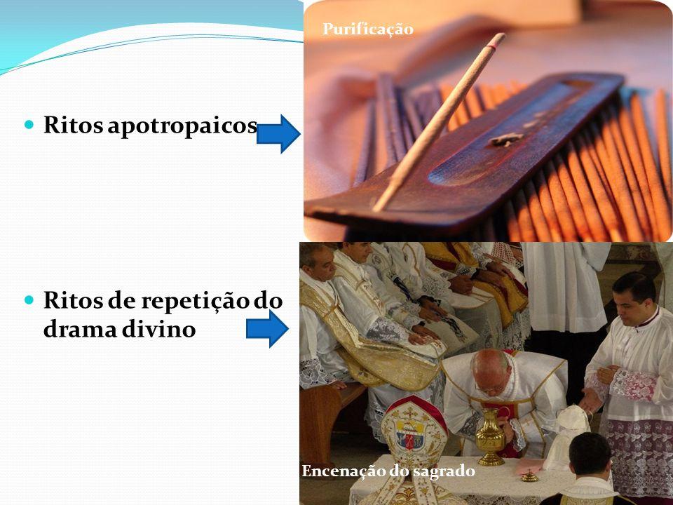 Ritos apotropaicos Ritos de repetição do drama divino Purificação Encenação do sagrado