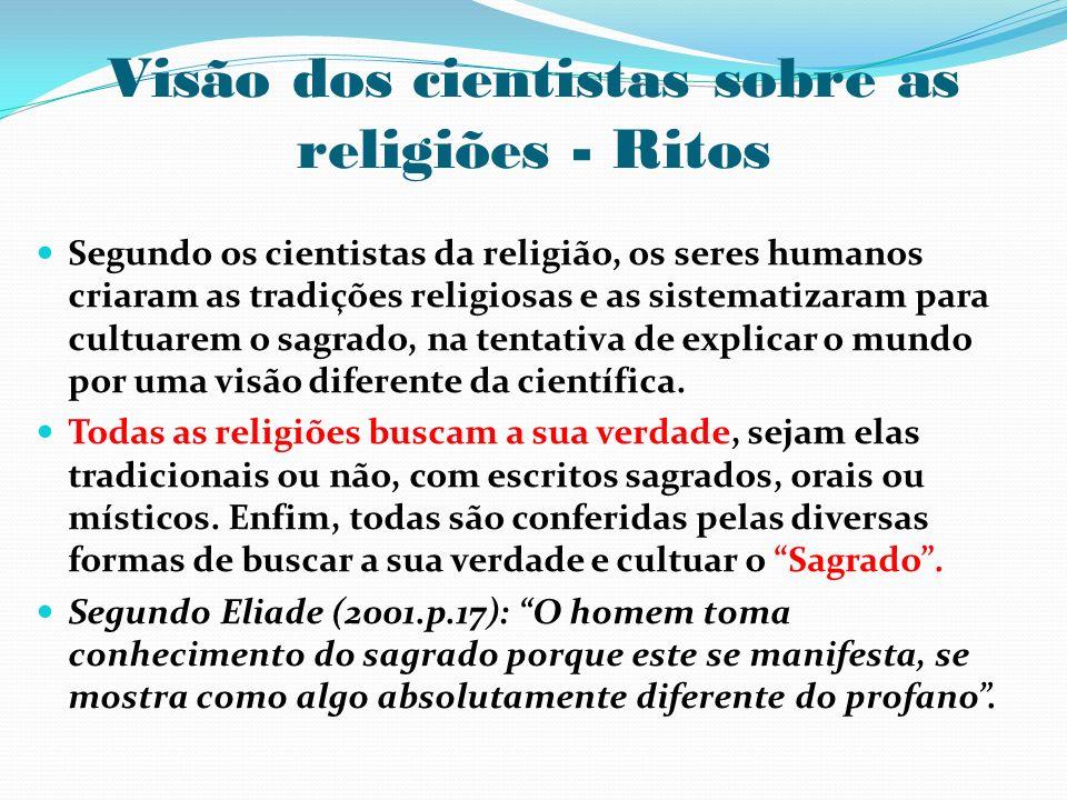 Visão dos cientistas sobre as religiões - Ritos Segundo os cientistas da religião, os seres humanos criaram as tradições religiosas e as sistematizara