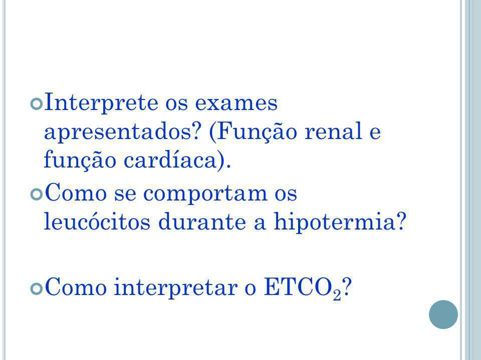 Interprete os exames apresentados.(Função renal e função cardíaca).