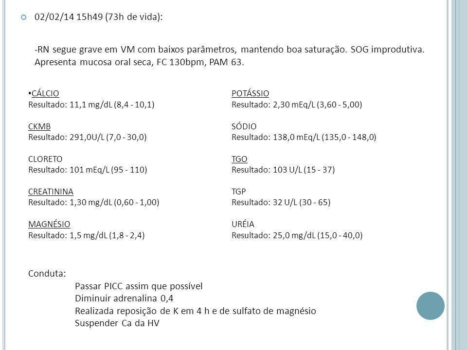 02/02/14 15h49 (73h de vida): -RN segue grave em VM com baixos parâmetros, mantendo boa saturação.