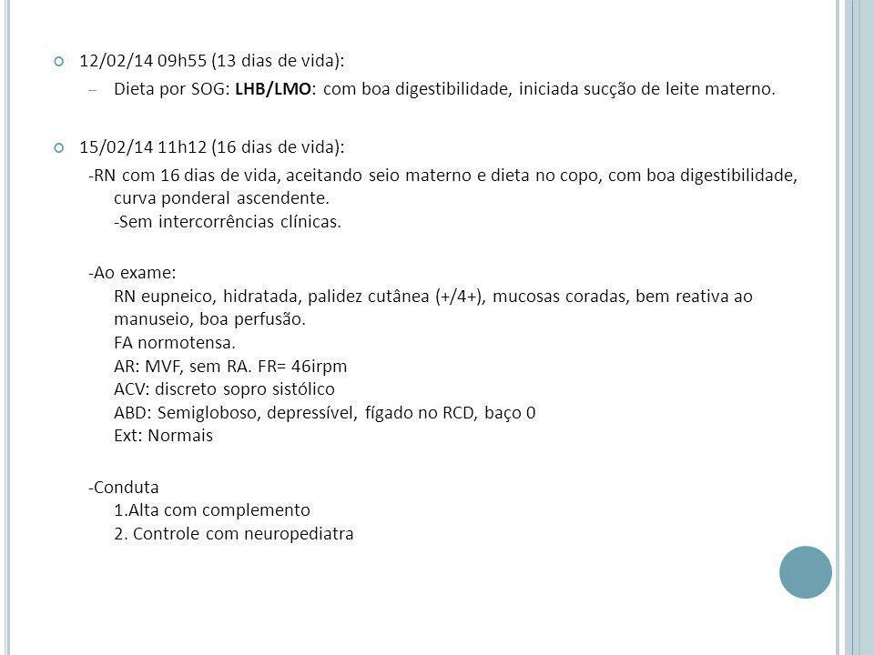12/02/14 09h55 (13 dias de vida): – Dieta por SOG: LHB/LMO: com boa digestibilidade, iniciada sucção de leite materno.