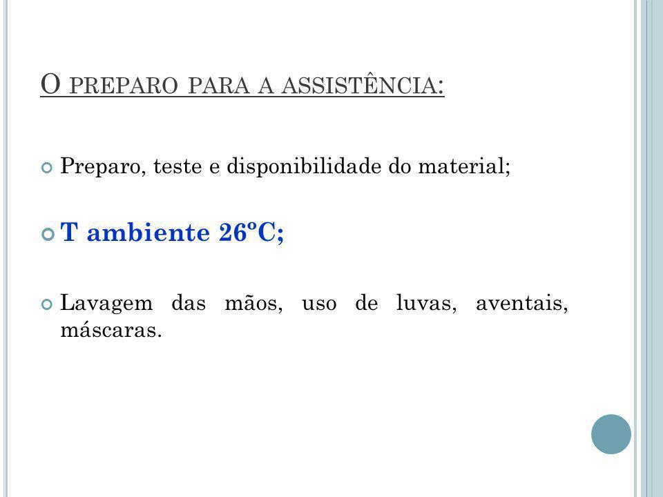 O PREPARO PARA A ASSISTÊNCIA : Preparo, teste e disponibilidade do material; T ambiente 26ºC; Lavagem das mãos, uso de luvas, aventais, máscaras.