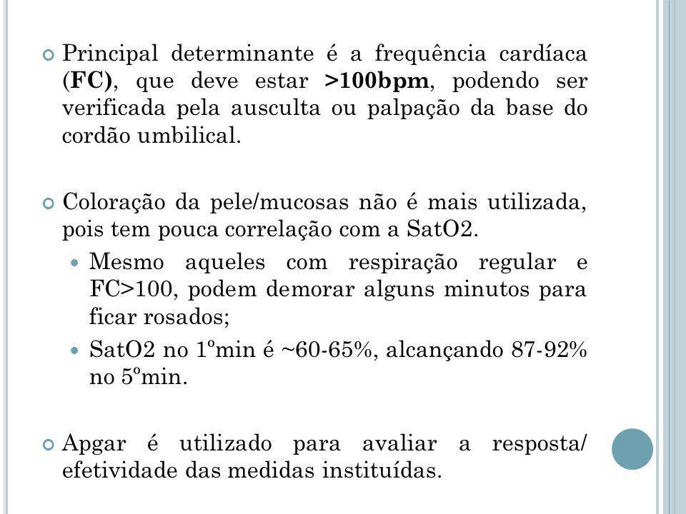 Principal determinante é a frequência cardíaca ( FC), que deve estar >100bpm, podendo ser verificada pela ausculta ou palpação da base do cordão umbilical.
