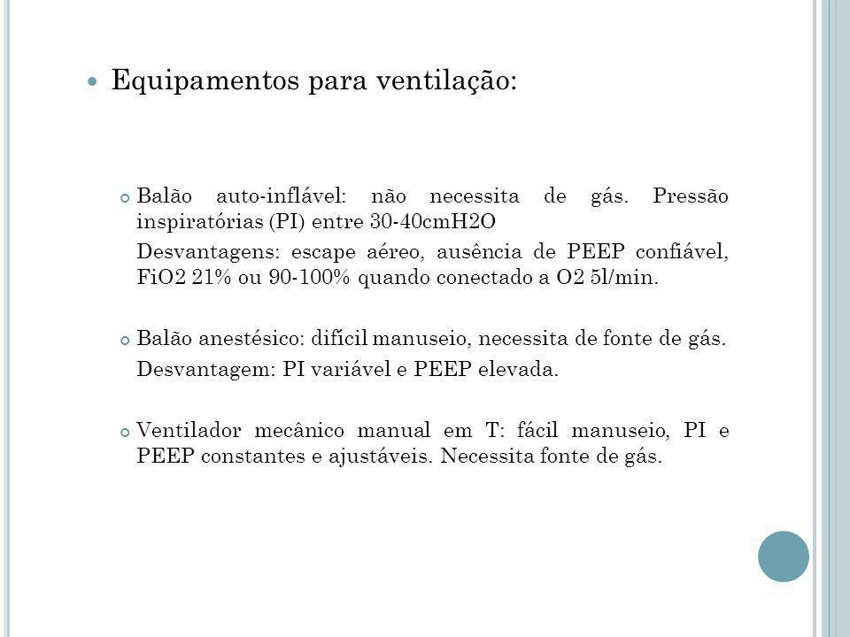 Equipamentos para ventilação: Balão auto-inflável: não necessita de gás.