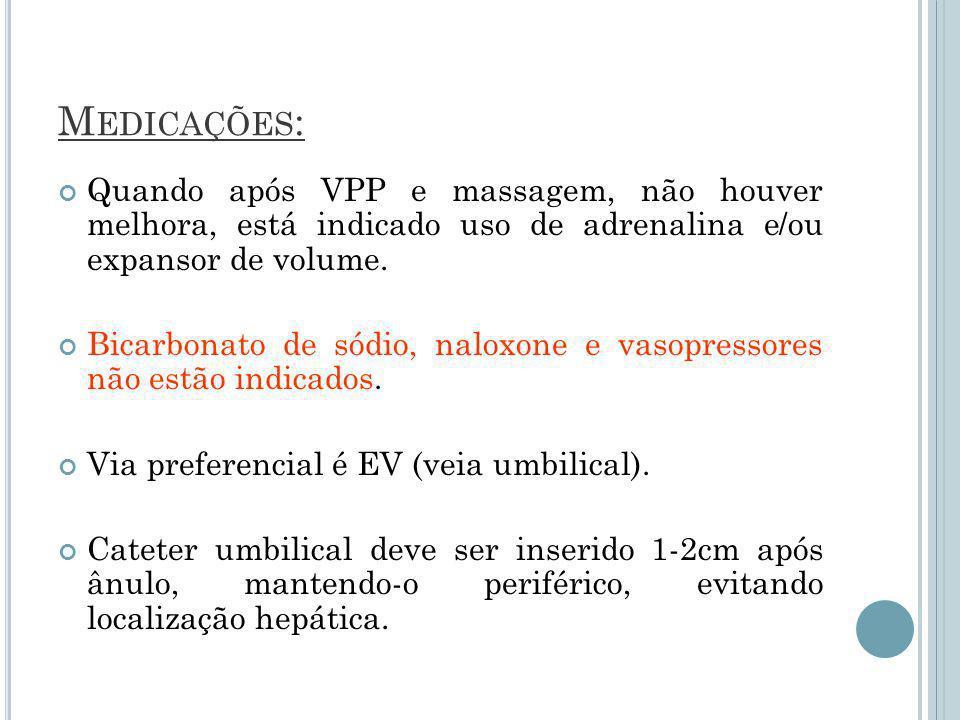 M EDICAÇÕES : Quando após VPP e massagem, não houver melhora, está indicado uso de adrenalina e/ou expansor de volume.