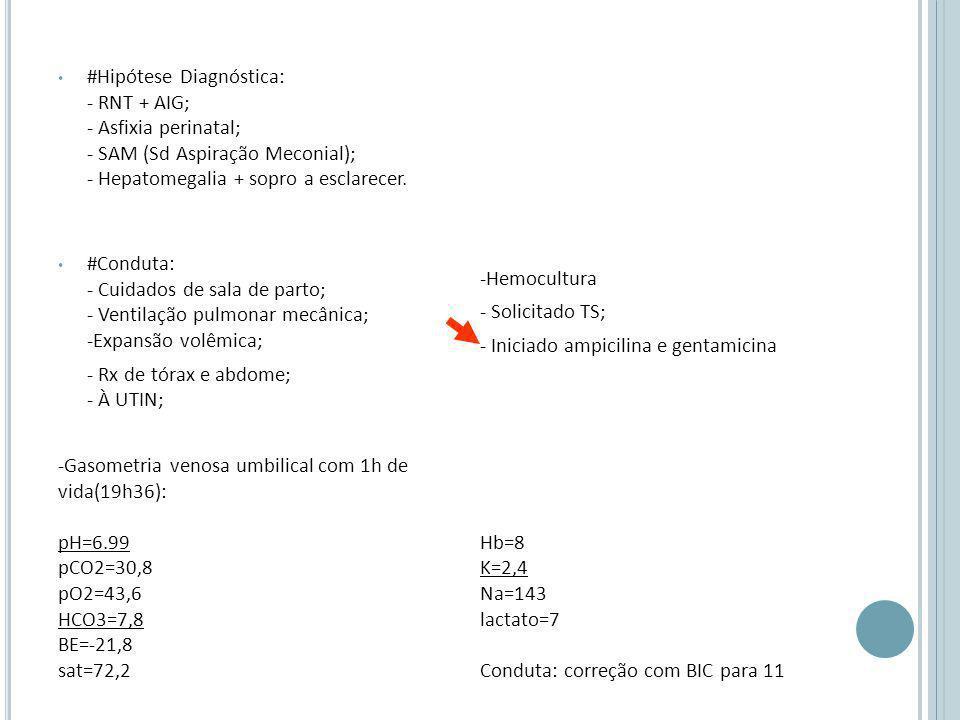 #Hipótese Diagnóstica: - RNT + AIG; - Asfixia perinatal; - SAM (Sd Aspiração Meconial); - Hepatomegalia + sopro a esclarecer.
