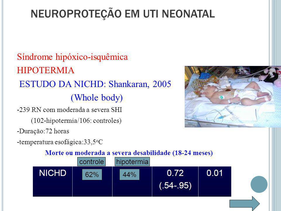 Síndrome hipóxico-isquêmica HIPOTERMIA ESTUDO DA NICHD: Shankaran, 2005 (Whole body) -239 RN com moderada a severa SHI (102-hipotermia/106: controles) -Duração:72 horas -temperatura esofágica:33,5 o C Morte ou moderada a severa desabilidade (18-24 meses) NEUROPROTEÇÃO EM UTI NEONATAL 44%62% controlehipotermia