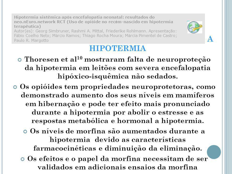USO DE ANALGÉSICO OPIÓIDE DURTANTE A HIPOTERMIA Thoresen et al 10 mostraram falta de neuroproteção da hipotermia em leitões com severa encefalopatia hipóxico-isquêmica não sedados.
