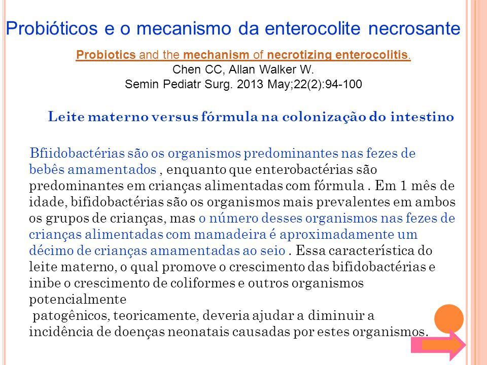 Leite materno versus fórmula na colonização do intestino Bfiidobactérias são os organismos predominantes nas fezes de bebês amamentados, enquanto que