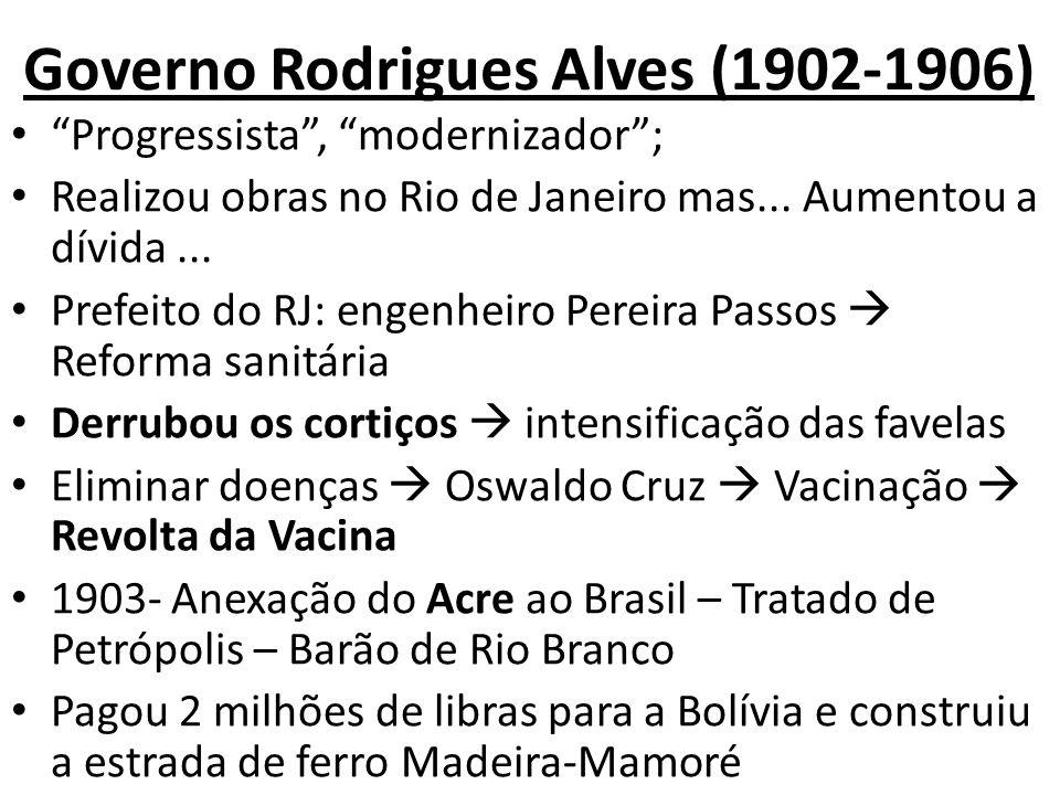 Governo Rodrigues Alves (1902-1906) Progressista, modernizador; Realizou obras no Rio de Janeiro mas... Aumentou a dívida... Prefeito do RJ: engenheir