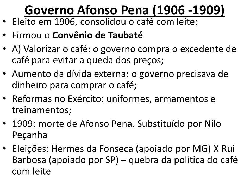 Governo Afonso Pena (1906 -1909) Eleito em 1906, consolidou o café com leite; Firmou o Convênio de Taubaté A) Valorizar o café: o governo compra o exc