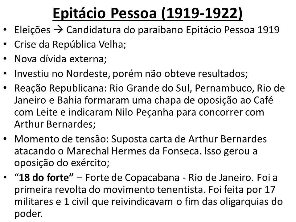 Epitácio Pessoa (1919-1922) Eleições Candidatura do paraibano Epitácio Pessoa 1919 Crise da República Velha; Nova dívida externa; Investiu no Nordeste