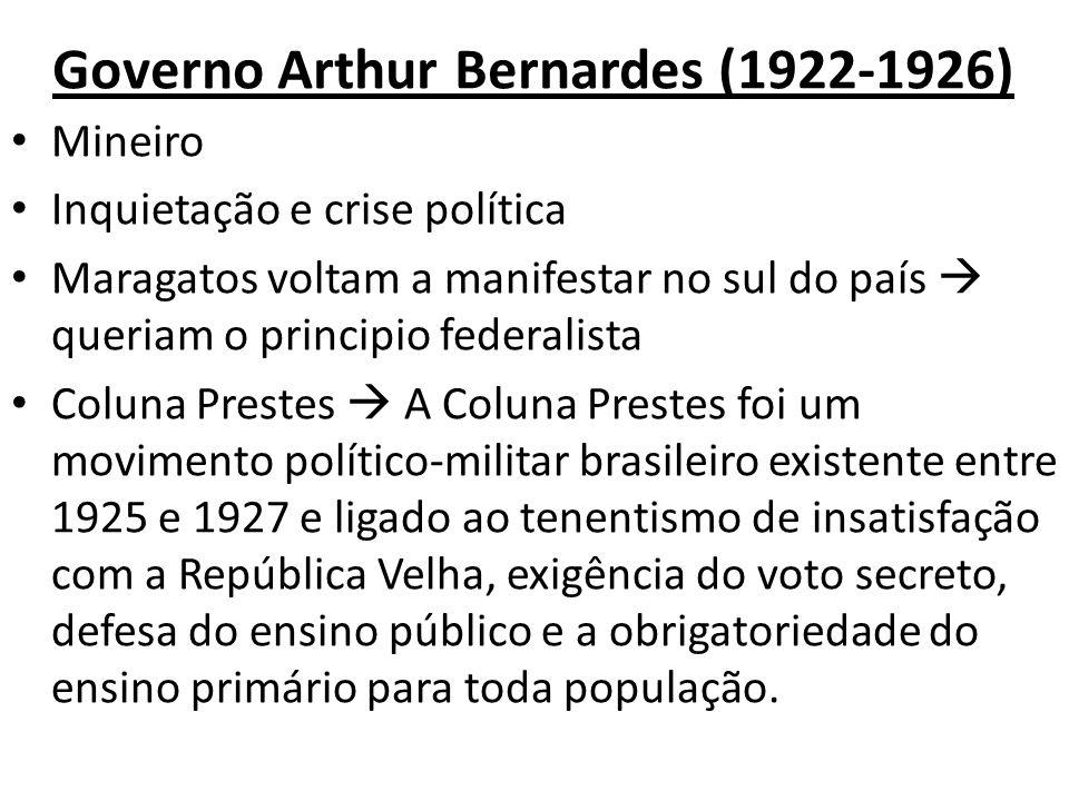 Governo Arthur Bernardes (1922-1926) Mineiro Inquietação e crise política Maragatos voltam a manifestar no sul do país queriam o principio federalista