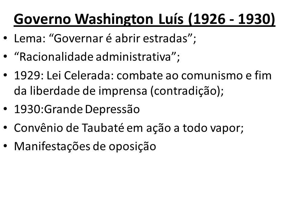 Governo Washington Luís (1926 - 1930) Lema: Governar é abrir estradas; Racionalidade administrativa; 1929: Lei Celerada: combate ao comunismo e fim da