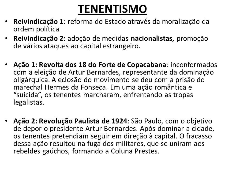 TENENTISMO Reivindicação 1: reforma do Estado através da moralização da ordem política Reivindicação 2: adoção de medidas nacionalistas, promoção de v