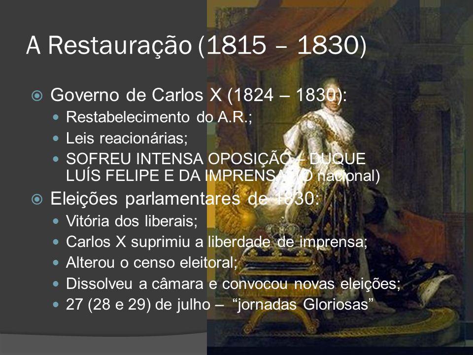 A Restauração (1815 – 1830) Governo de Carlos X (1824 – 1830): Restabelecimento do A.R.; Leis reacionárias; SOFREU INTENSA OPOSIÇÃO – DUQUE LUÍS FELIP