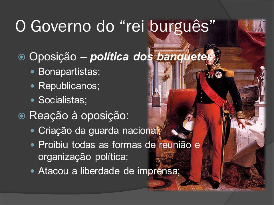 O Governo do rei burguês Oposição – política dos banquetes: Bonapartistas; Republicanos; Socialistas; Reação à oposição: Criação da guarda nacional; P