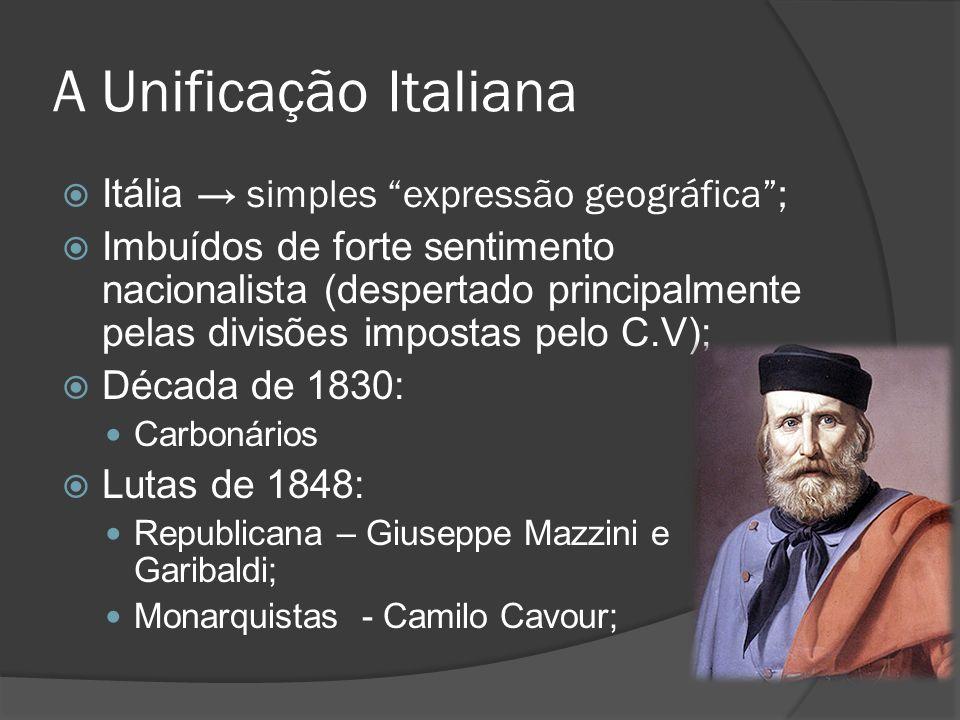 A Unificação Italiana Itália simples expressão geográfica; Imbuídos de forte sentimento nacionalista (despertado principalmente pelas divisões imposta