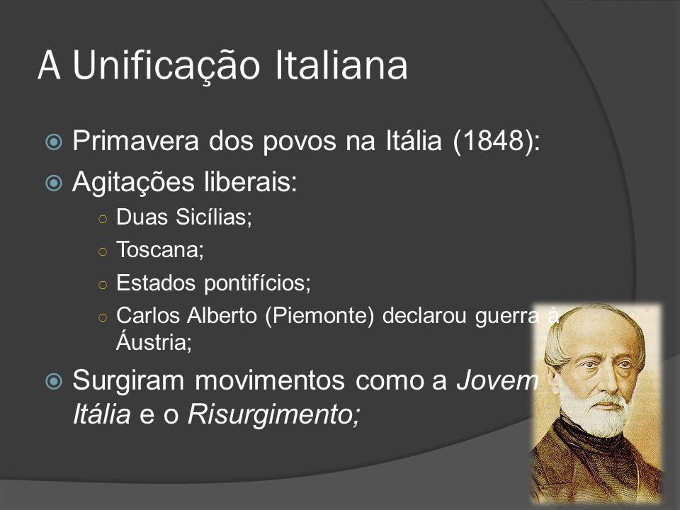 A Unificação Italiana Primavera dos povos na Itália (1848): Agitações liberais: Duas Sicílias; Toscana; Estados pontifícios; Carlos Alberto (Piemonte)