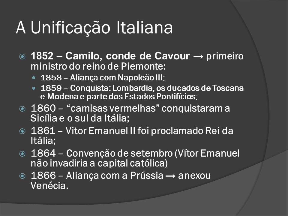 A Unificação Italiana 1852 – Camilo, conde de Cavour primeiro ministro do reino de Piemonte: 1858 – Aliança com Napoleão III; 1859 – Conquista: Lombar
