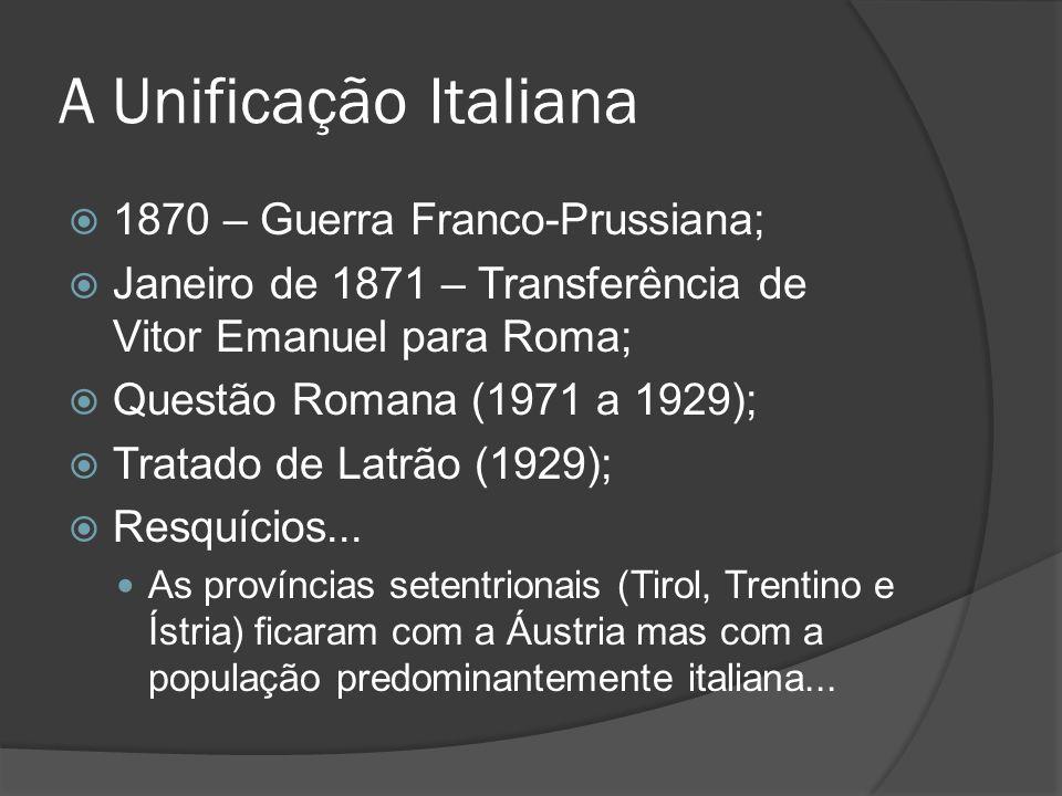 A Unificação Italiana 1870 – Guerra Franco-Prussiana; Janeiro de 1871 – Transferência de Vitor Emanuel para Roma; Questão Romana (1971 a 1929); Tratad