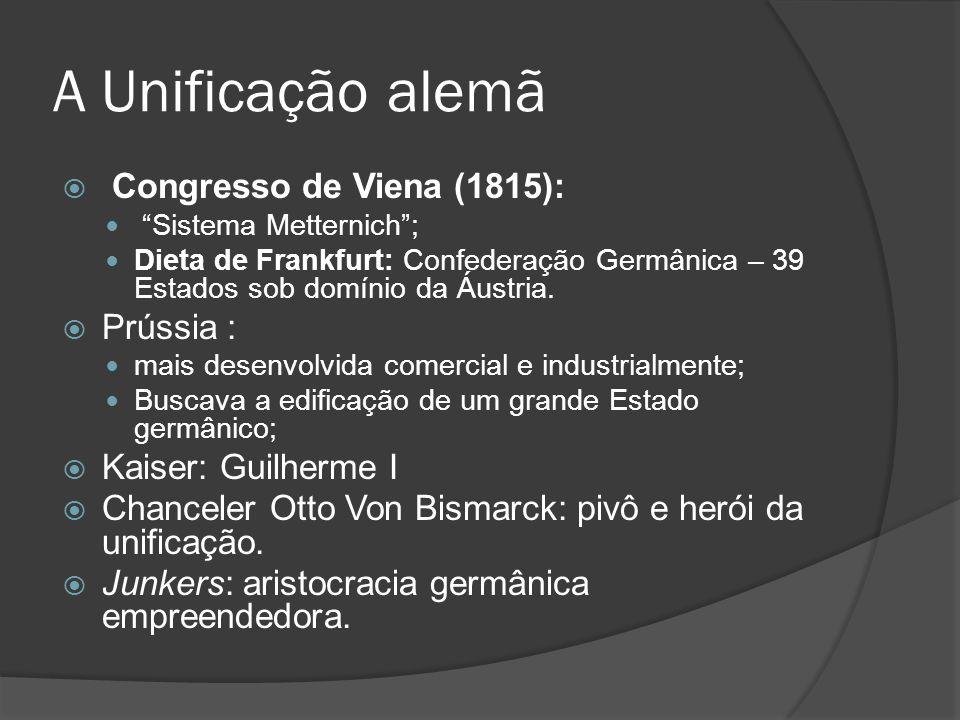 A Unificação alemã Congresso de Viena (1815): Sistema Metternich; Dieta de Frankfurt: Confederação Germânica – 39 Estados sob domínio da Áustria. Prús