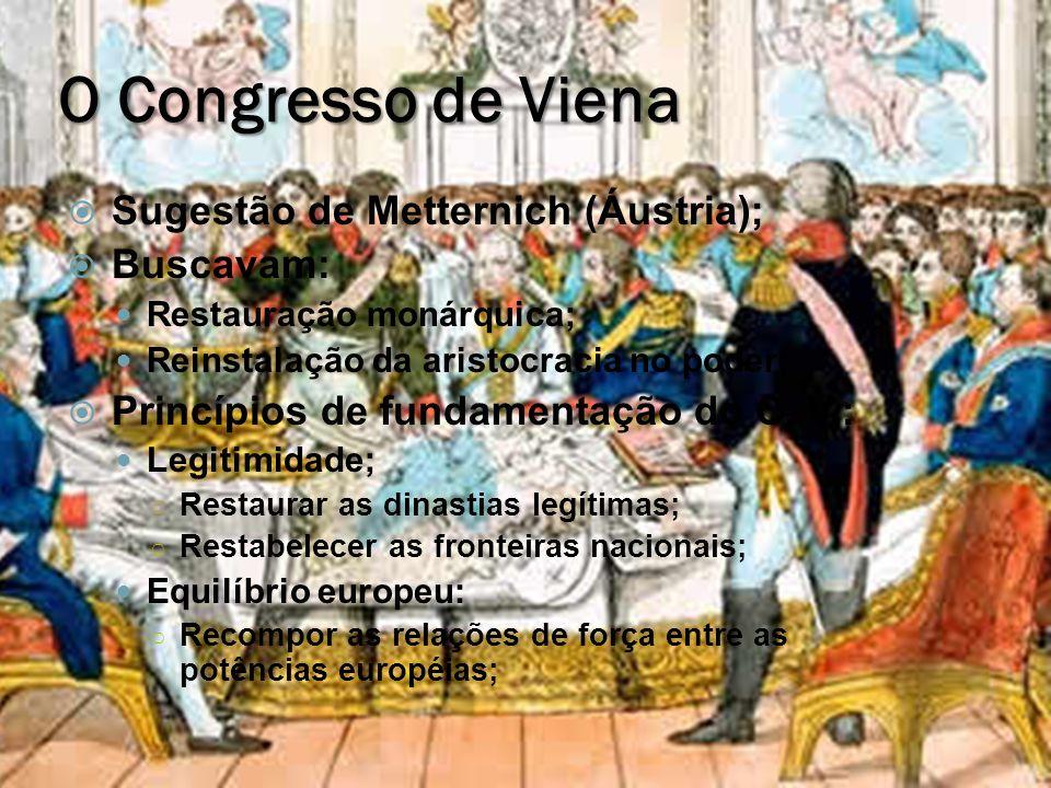O Congresso de Viena Sugestão de Metternich (Áustria); Buscavam: Restauração monárquica; Reinstalação da aristocracia no poder; Princípios de fundamen