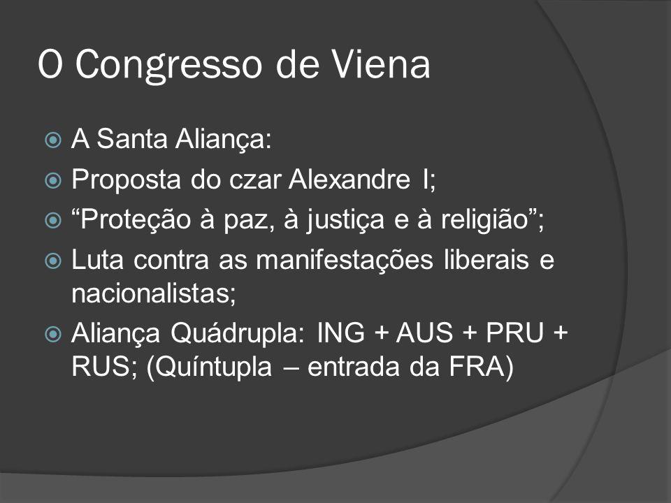 O Congresso de Viena A Santa Aliança: Proposta do czar Alexandre I; Proteção à paz, à justiça e à religião; Luta contra as manifestações liberais e na